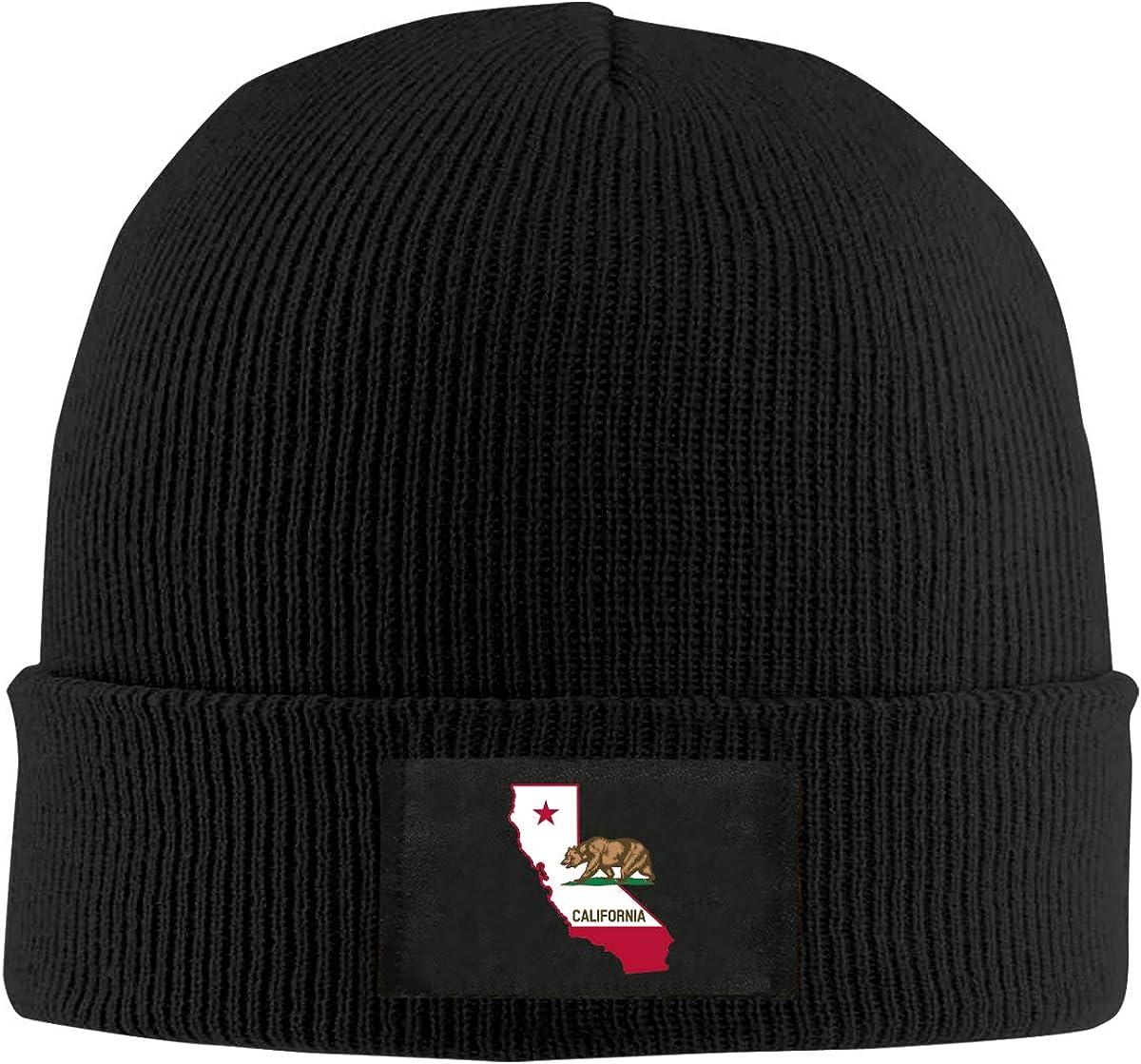 LRHUI California Flag Map Winter Knitted Hat Warm Wool Skull Beanie Cap