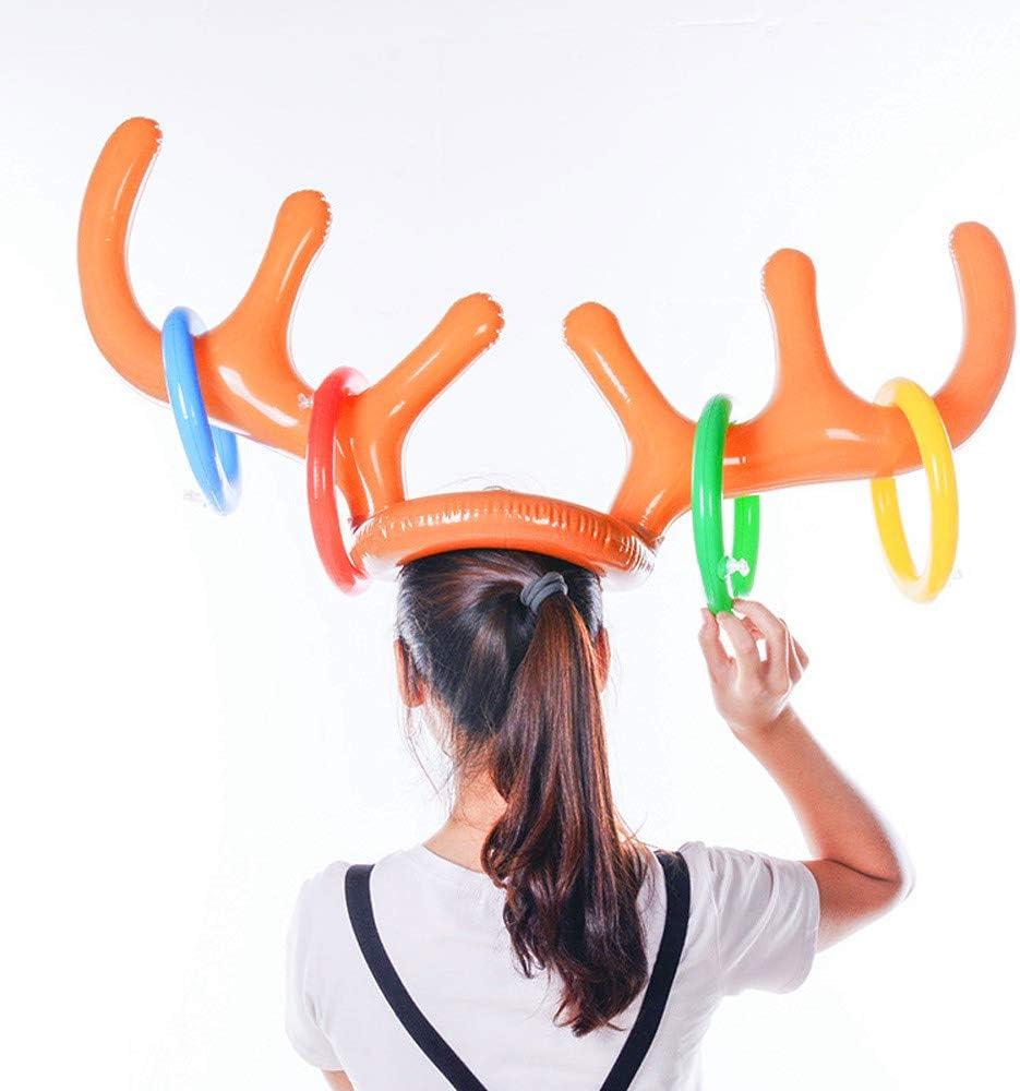 Juego de Lanzamiento de Navidad Sombrero de asta de Reno Inflable con Anillos de Lanzamiento inflables Juguetes de Navidad Accesorios de Alces XIANGJ Juego de 2 Cuernos de Reno Inflable