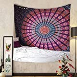 Gzhihine Custom tapestry Indian-hippie-unique Bohemian-psychedelic-mandala Wall-hanging-tapestry-pink-purple Twin-size-54x72-Inches(140x185-Centimeters)