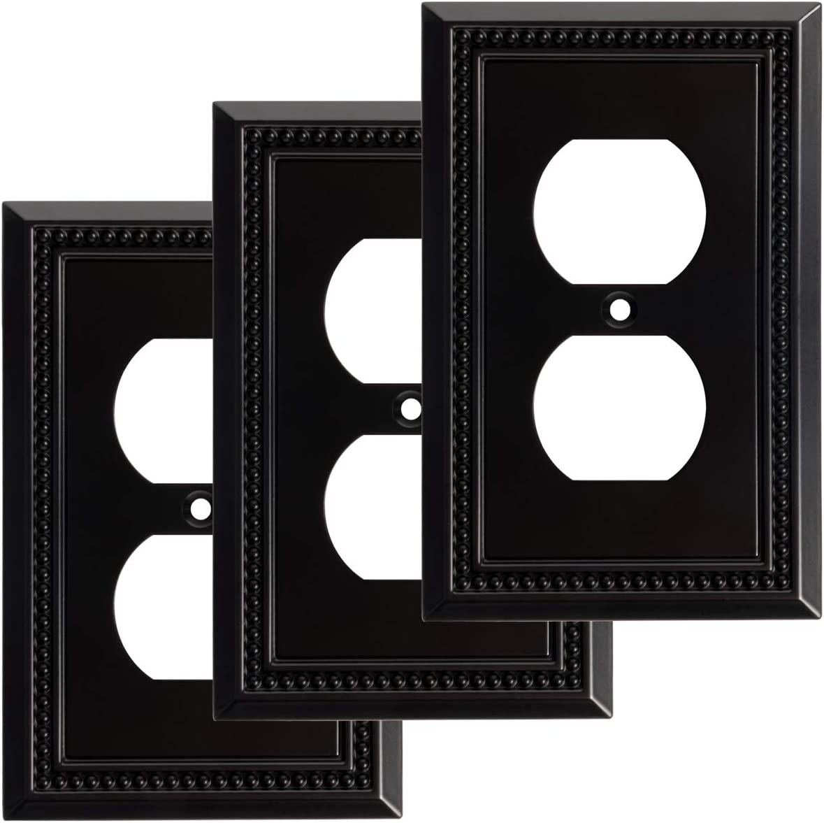 Harmon Designs Sunken Pearls Switch Plate/Wall Plate/Outlet Cover (Single Duplex 3PK, Matte Black) - -