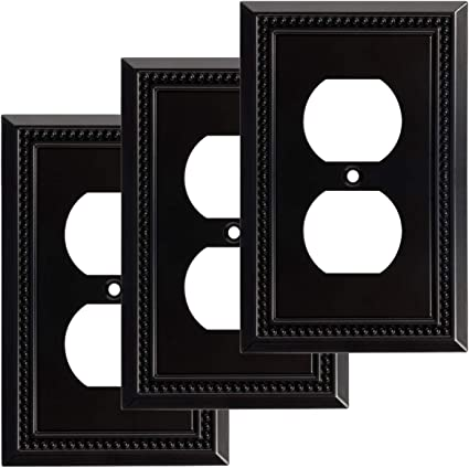 Harmon Designs Sunken Pearls Switch Plate Wall Plate Outlet Cover Single Duplex 3pk Matte Black