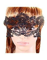 Qiyun Halloween Venetian Masquerade Black Crochet Lace Eye Fancy Dress Mask Mascarade Ve nitienne Crochet Noir Masque Dentelle Robe L'Oeil Collier