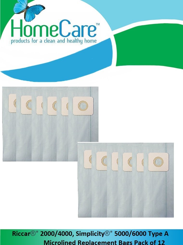 Home Care Products Created Riccar 2000/4000, Simplicity 5000/6000 Type A Microlined Vacuum Bags Pack of 12