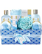Spa Luxetique Ocean Spa Gift Basket, Women Gift for Birthday, Premium 12pc with Cloth Box Holder, Spa Package for Women-Bath Bombs, Shower Gel, Body Lotion & More, Perfect Christmas & Birthday Gift Idea.