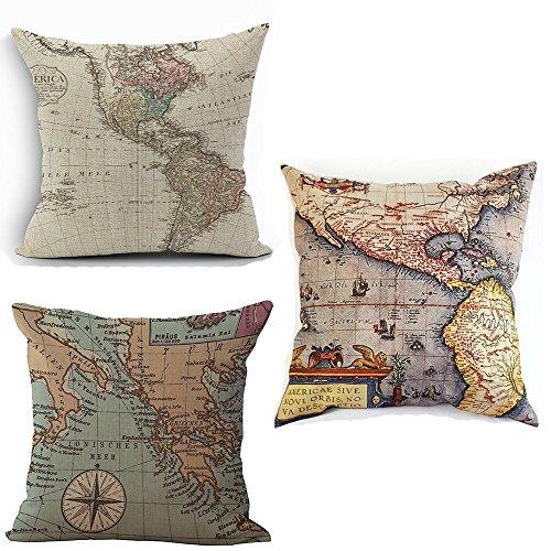wonder4 map art throw pillow covers 3 pcs cotton linen square america map decorative pillow cases 18 x 18