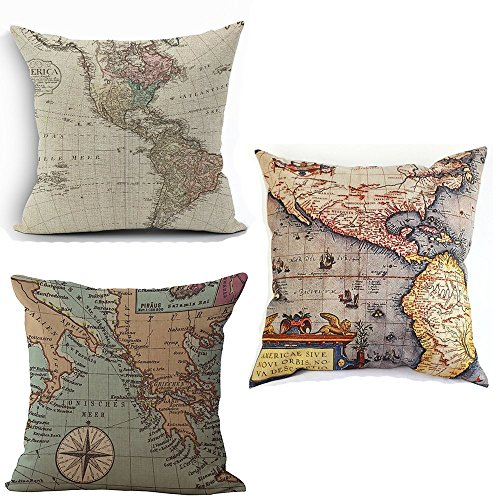 Map Art Throw Pillow Covers - Wonder4 Cotton Linen Square Decorative Geography Theme Throw Pillow Cases Couch Covers 18