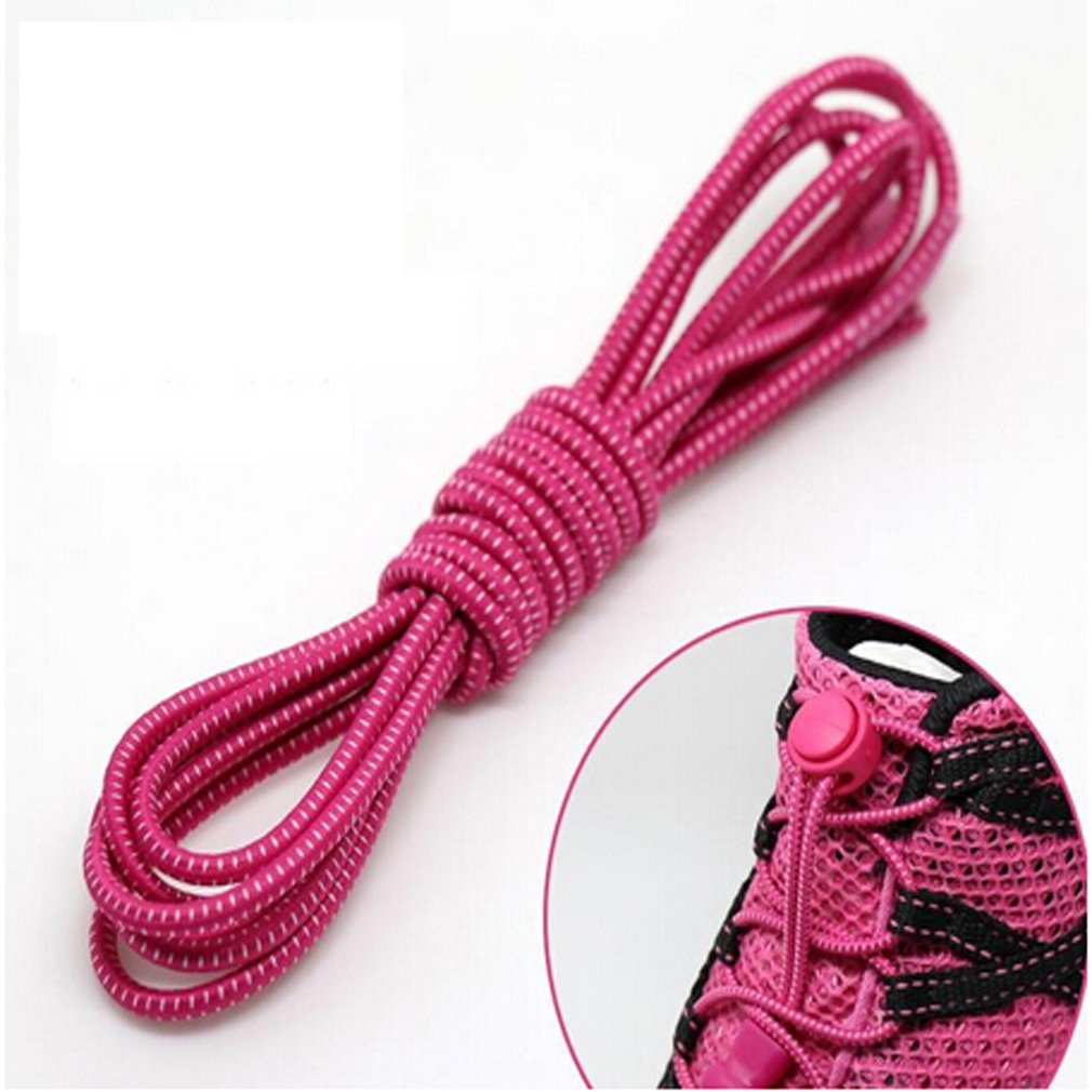 GUAngqi 1 Pair No Tie Shoelaces, Reflective Sport Elastic Shoelaces Lock No Tie Laces Replacement for Sports and Outdoor Activities,Pink