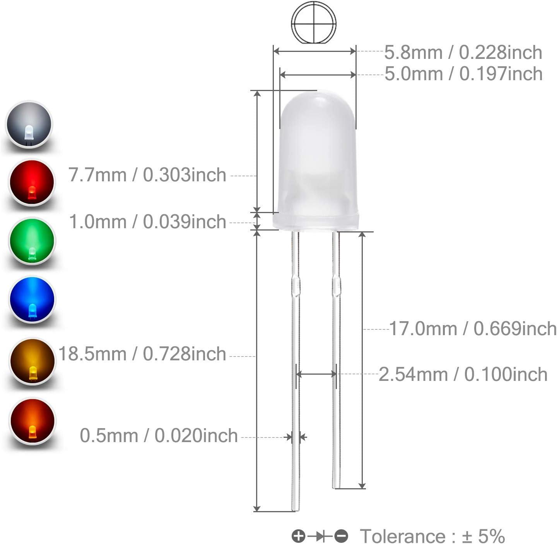 250 LEDs 5,0x5,0 mm Square Diffuse Orange LED