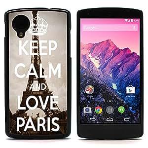 Graphic4You Keep Calm and Love Paris Design Thin Slim Rigid Hard Case Cover for LG Nexus 5
