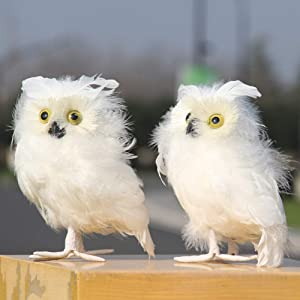 UHBGT 2 Pcs Owl Ornaments Artificial Owl Simulation Foam Bird Feather Ornaments White Snowy Owl Birds for Home Garden Decoration Gifts