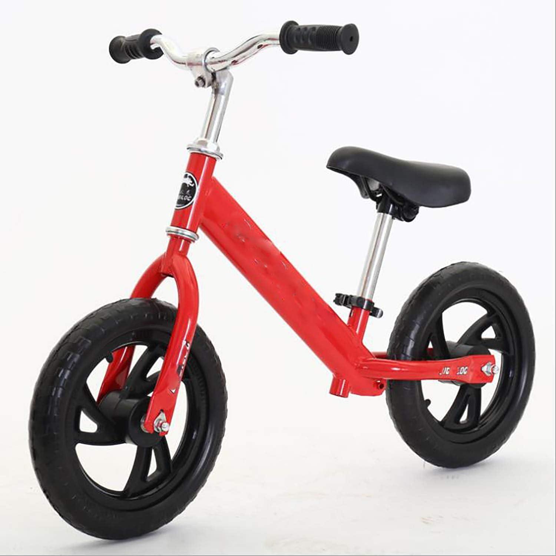 Bicicleta de equilibrio sin pedales de 12 pulgadas - bicicleta de entrenamiento para niños andador, cuadro estabilizado de acero al carbono con manillar ajustable y altura del asiento,Red,1.foamtire: Amazon.es: Hogar