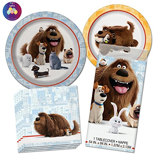 The Secret Life of Pets Party Supplies - Dinner Plates, Dessert Plates, Lunch Napkins & Tablecover for 8 Guests