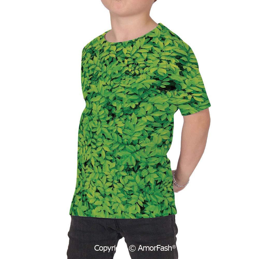 Green Girl Short-Sleeve Crewneck Polyester T-Shirt,Fresh Garden Fores