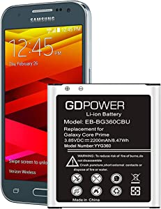 Galaxy Core Prime Battery, GDPower 2200mAh Li-ion Battery EB-BG360CBU Replacement for Samsung Galaxy Core Prime SM-G360P, G360V Prevail, G3606, G3608, G3609 EB-BG360CBZ [24 Month Warranty]
