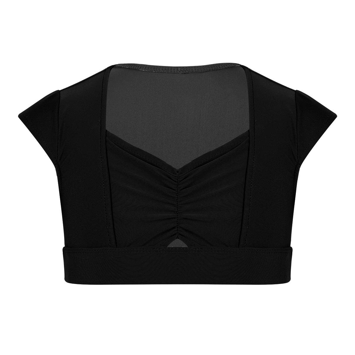 CHICTRY Kids Girls Dance Gymnastics Workout Sports Athletic Crop Top T-Shirt Tees Cap Sleeves Pinched-Front