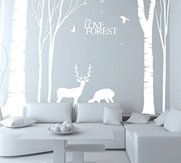 N.SunForest Giant White Tree Vinyl Wall Decals Animal Deer Elk Birds The  Love Forest