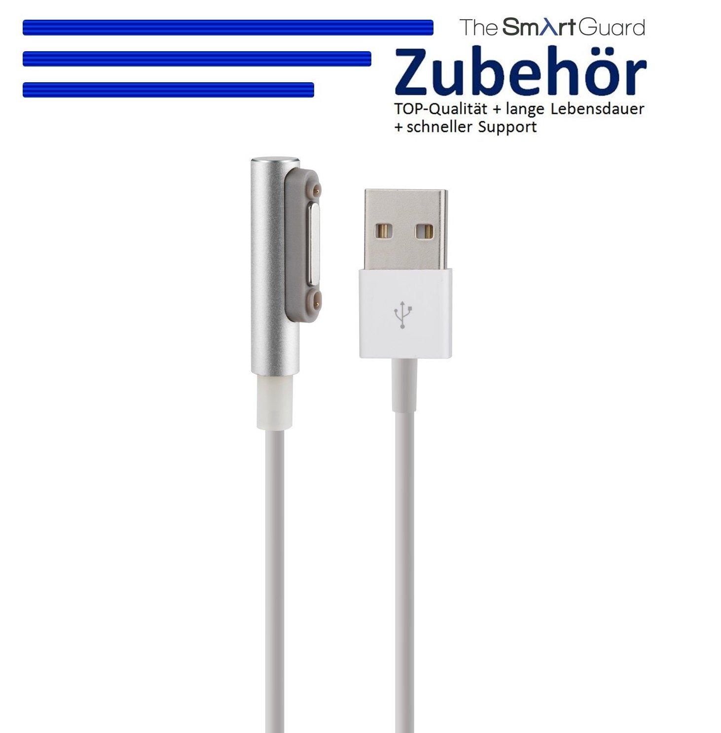 TheSmartGuard Ladekabel kompatibel f/ür Sony Xperia Z3 Compact Magnet Ladekabel und integrierter LED Anzeige f/ür den Ladestrom in Silber L/änge NEU mit /überarbeiteter Ladegeschwindigkeit! 1 Meter