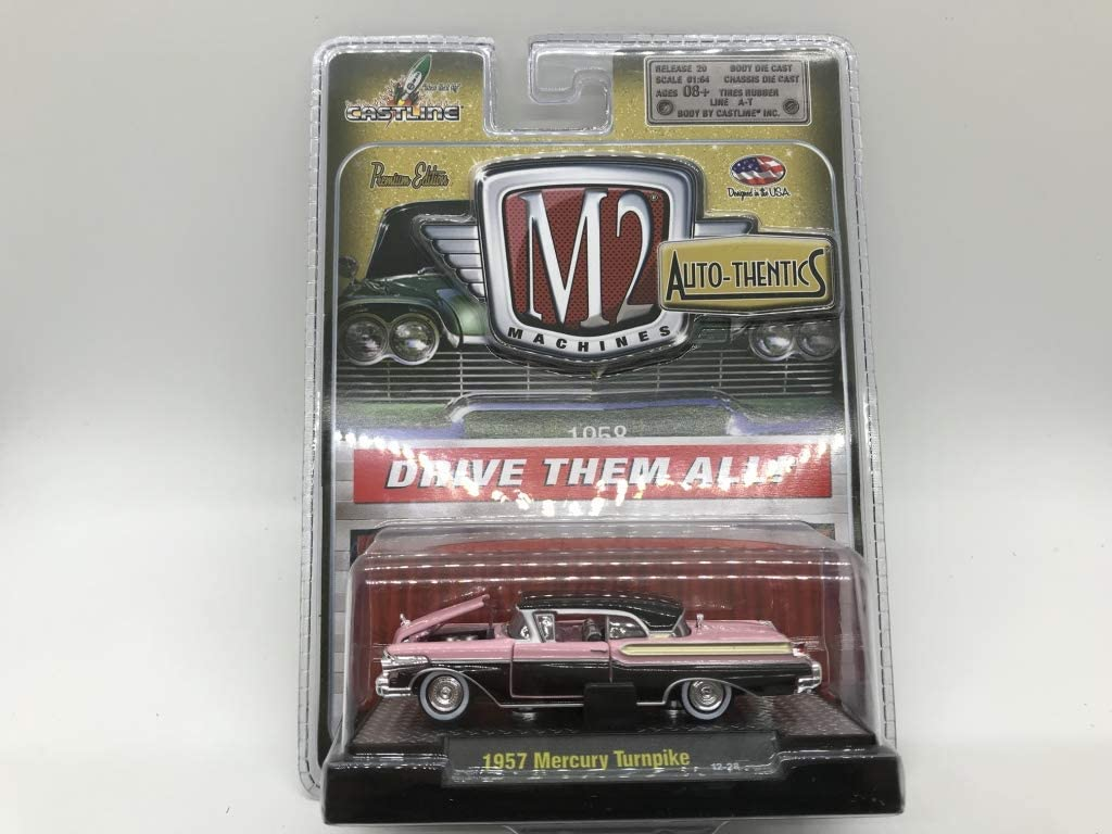 M2 Machines by M2 Collectible Auto-Thentics 1957 Mercury Turnpike 12-28 Pink//Black Details Like NO Other!