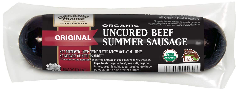 Organic Prairie, Organic Uncured Beef Summer Sausage, Original, 12 oz