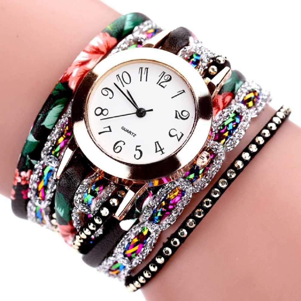 WSSVAN Reloj Reloj de Cuarzo para Mujer, Pulsera de Color Floral Tejido Estampado de Moda Reloj con Corona de Flores de Diamante Tejido Reloj de Piedras Preciosas con Flores Populares