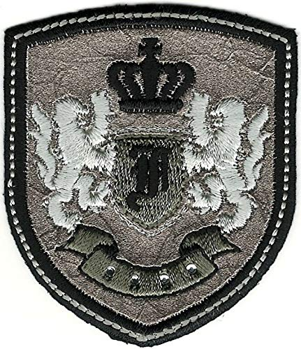 (Silver Black Rampant Lion Crown Coat of Arms Crest Letter F Embroidery Patch)