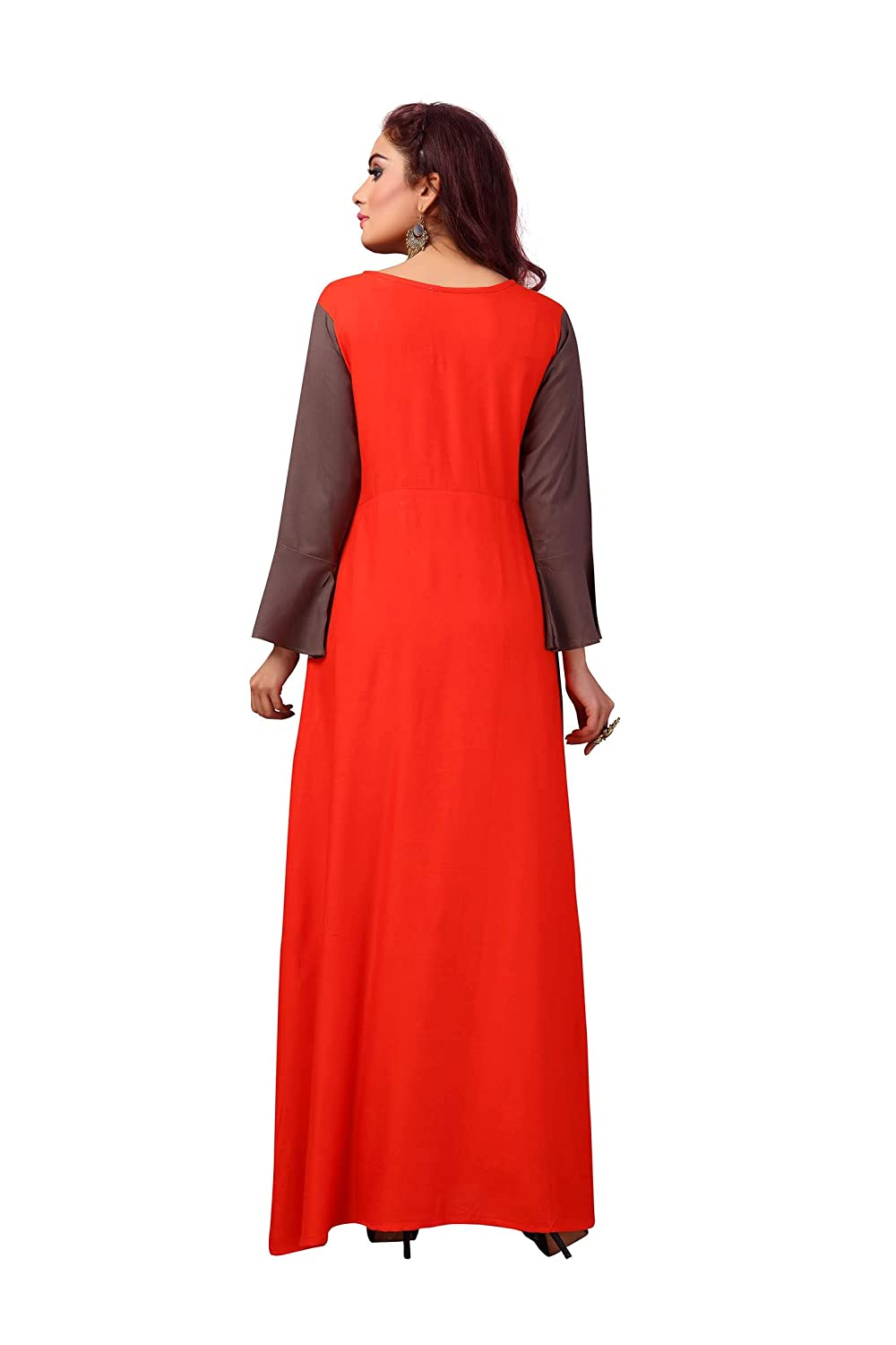 Brown Long Gown High Low Layered Front Slit Kurta