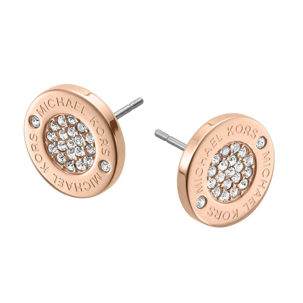 Michael Kors MKJ3353 Rose Gold Tone Logo Pave Stud Earrings