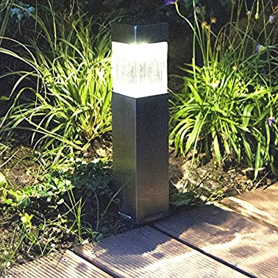 2PACK Satinless Steel Solar Bollard Super Bright Solar Lights Outdoor Sogrand Solar Pathway Lights Solar Landscape Lighting Solar Path Lights Solar Garden Lights