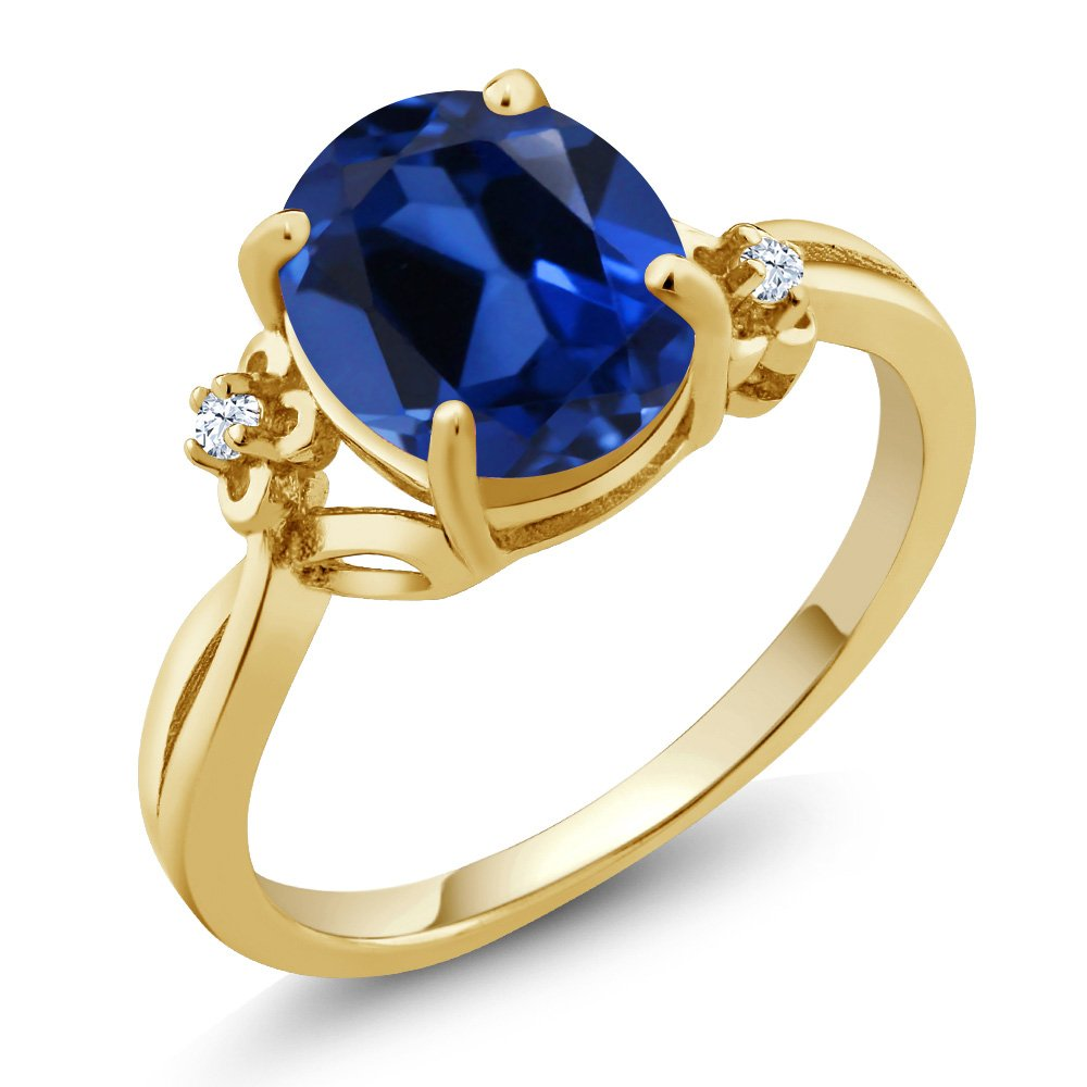 3.39 Ct Oval Blue Simulated Sapphire 14K Yellow Gold Ring (Ring Size 8)