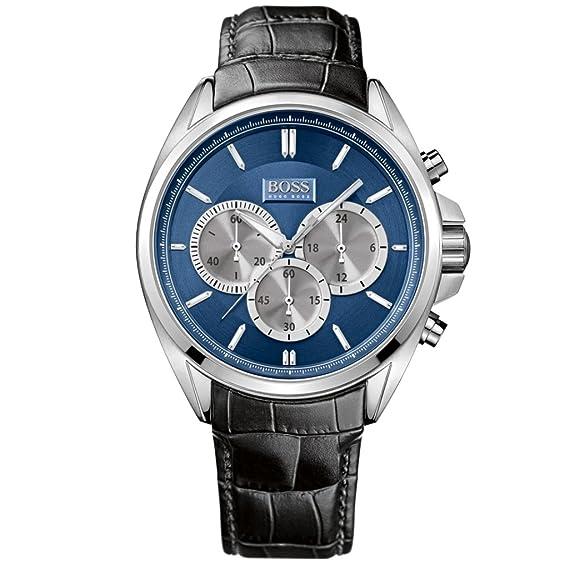 Hugo Boss 1512882 Cronógrafo Reloj Reloj de hombre piel pulsera de acero inoxidable 5 Bar Analog