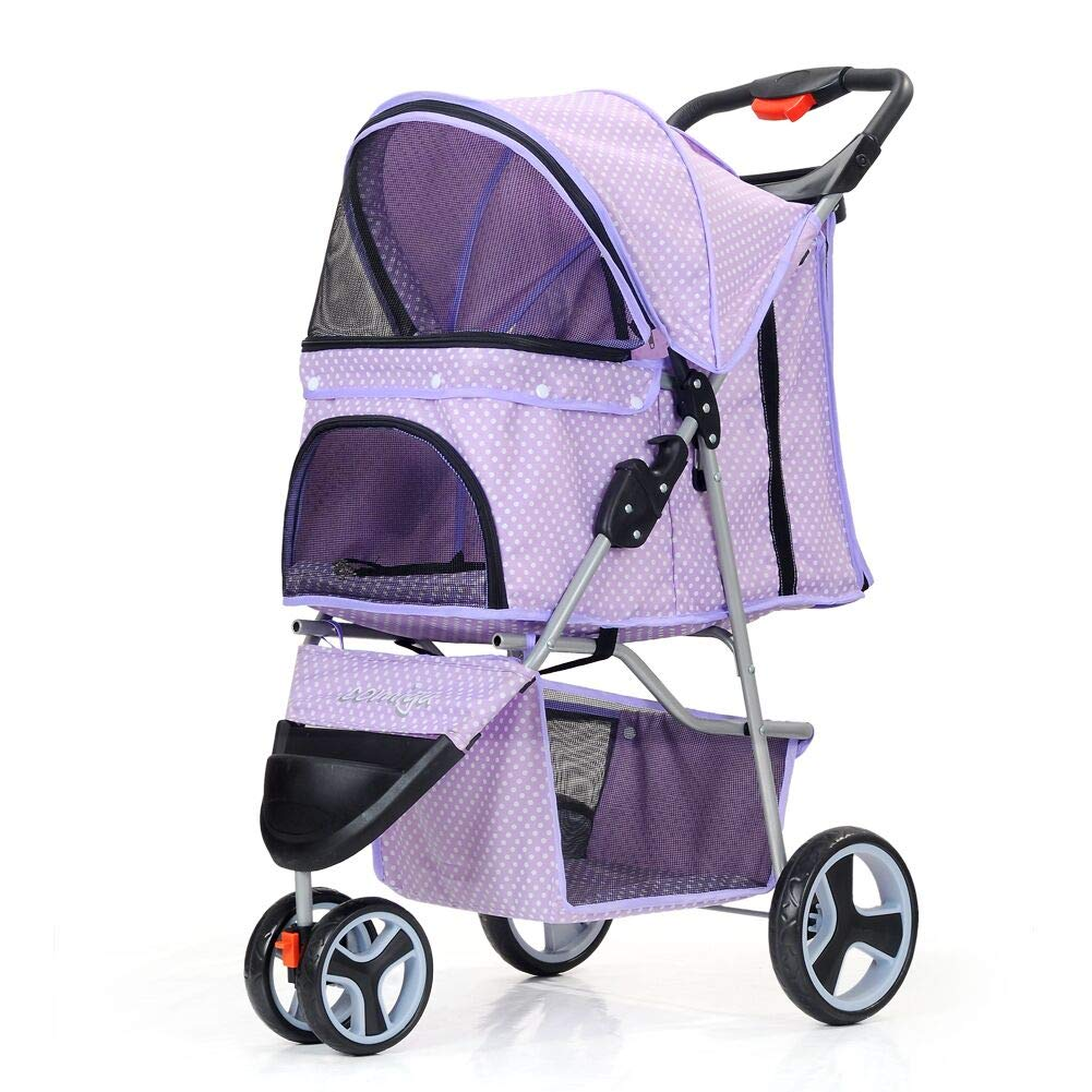 Comiga Pet Stroller, 3-Wheel Cat Stroller, Foldable Dog Stroller with Removable Liner and Storage Basket, for Small-Medium Pet,Purple by Comiga