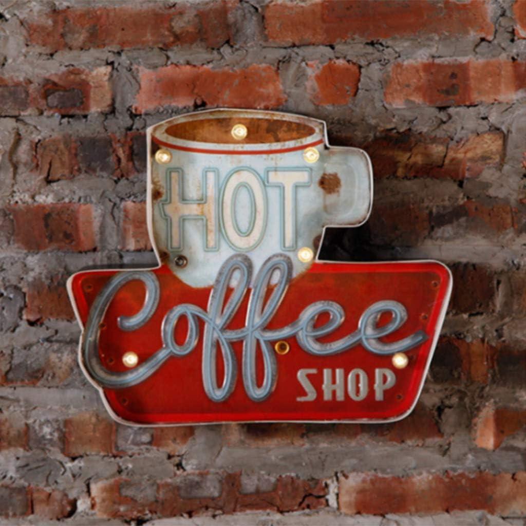joyMerit Blechschild Retro Kaffee Leuchtschild Leuchttafel Blechschilder Hinweisschild T/ürschild Vintage-Schild Wand-Dekoration