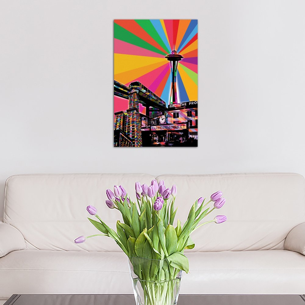 iCanvasART 3 Piece Seattle Psychedelic Pop Canvas Print by Dark Lord 60 x 40//0.75 Deep