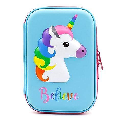 Estuche para lápices de unicornio con relieve – Estuche grande de colores para bolígrafos con compartimentos