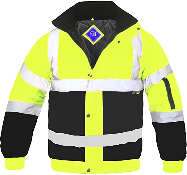 Hi Viz Bomber Jacket Two Tone Reflective Tape Waterproof Quilted ...