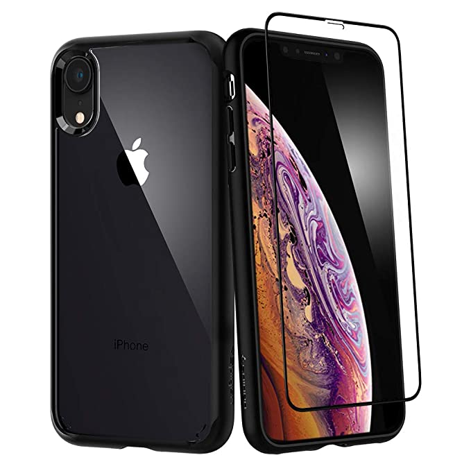 buy cheap b828b 36e19 Spigen Ultra Hybrid 360 Designed for Apple iPhone XR Case (2018) Tempered  Glass Screen Protector Included - Black