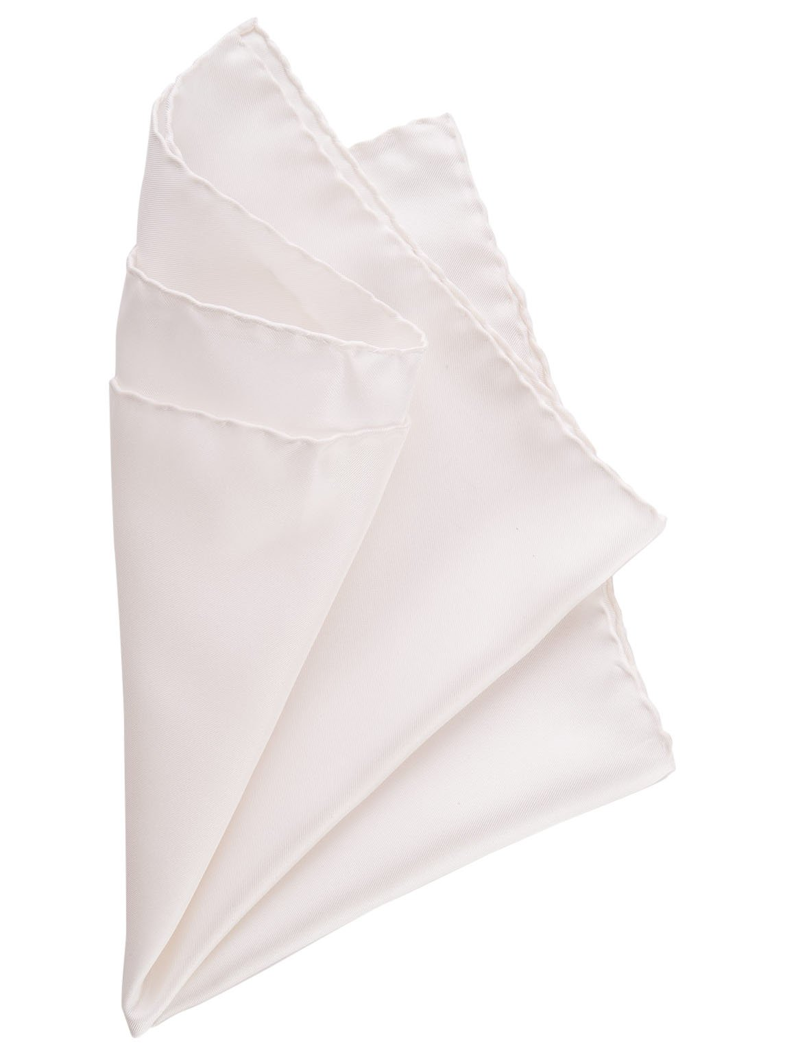 Elizabetta Men's Large 16'' Italian Silk Pocket Square, Solid White Hand Sewn Hems