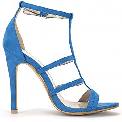 21fd52634903a Ladies Faux Suede Blue Strappy Open Toe Ankle Strap Stiletto High Heels 3-8  UK6