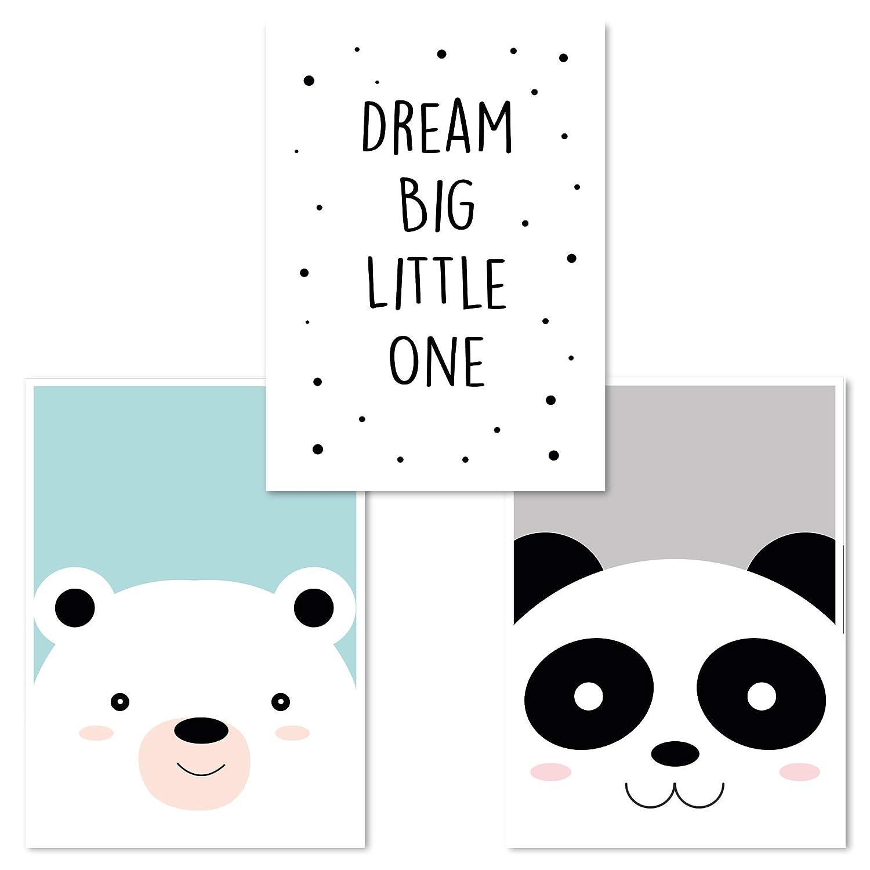 Cerdo Vaca Let them Be little ideales para decorar una habitaci/ón infantil o de beb/é de un ni/ño o de una ni/ña Juego de 3 Cuadros Infantiles DINA4