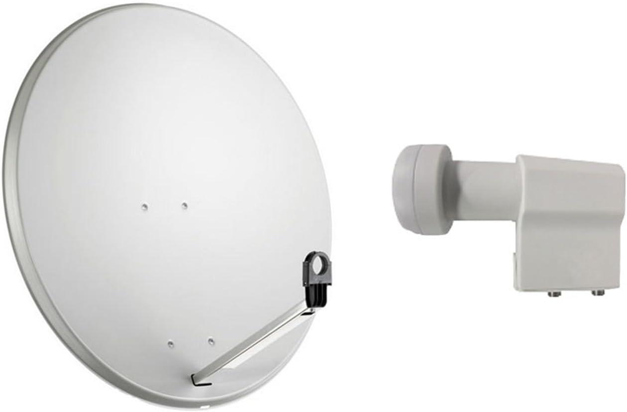 Kit de antena parabólica satelital de 80 cm con conversor de ...
