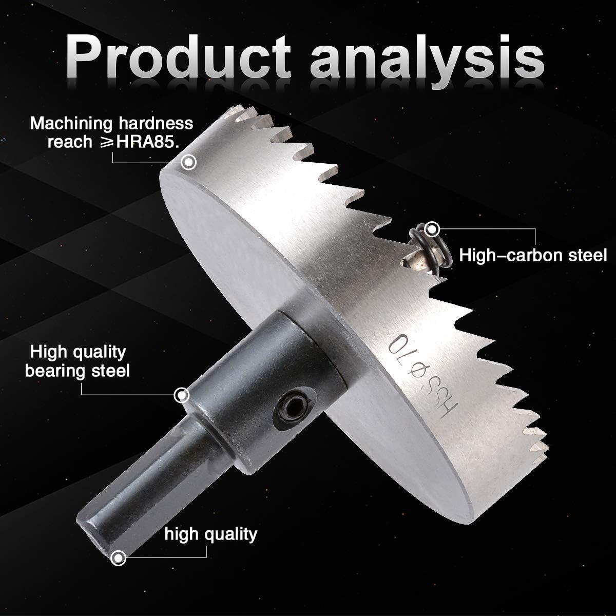 herramienta de corte de abridor de cobalto para madera aleaci/ón 55 mm cortador de metal de acero inoxidable Kit de dientes de sierra de agujero de broca HSS KATUR de 55 mm