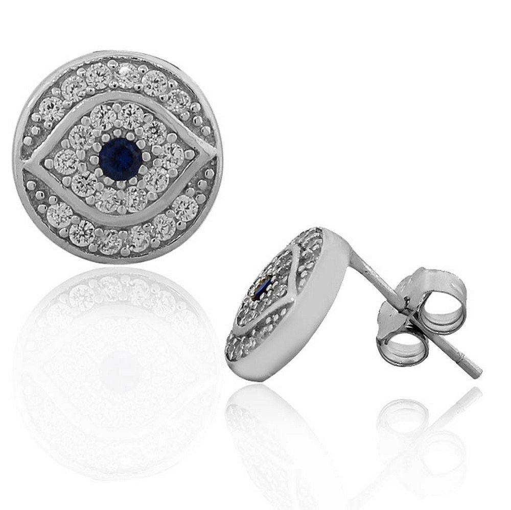 925 Sterling Silver White Blue CZ Round Hamsa Evil Eye Womens Girls Stud Earrings