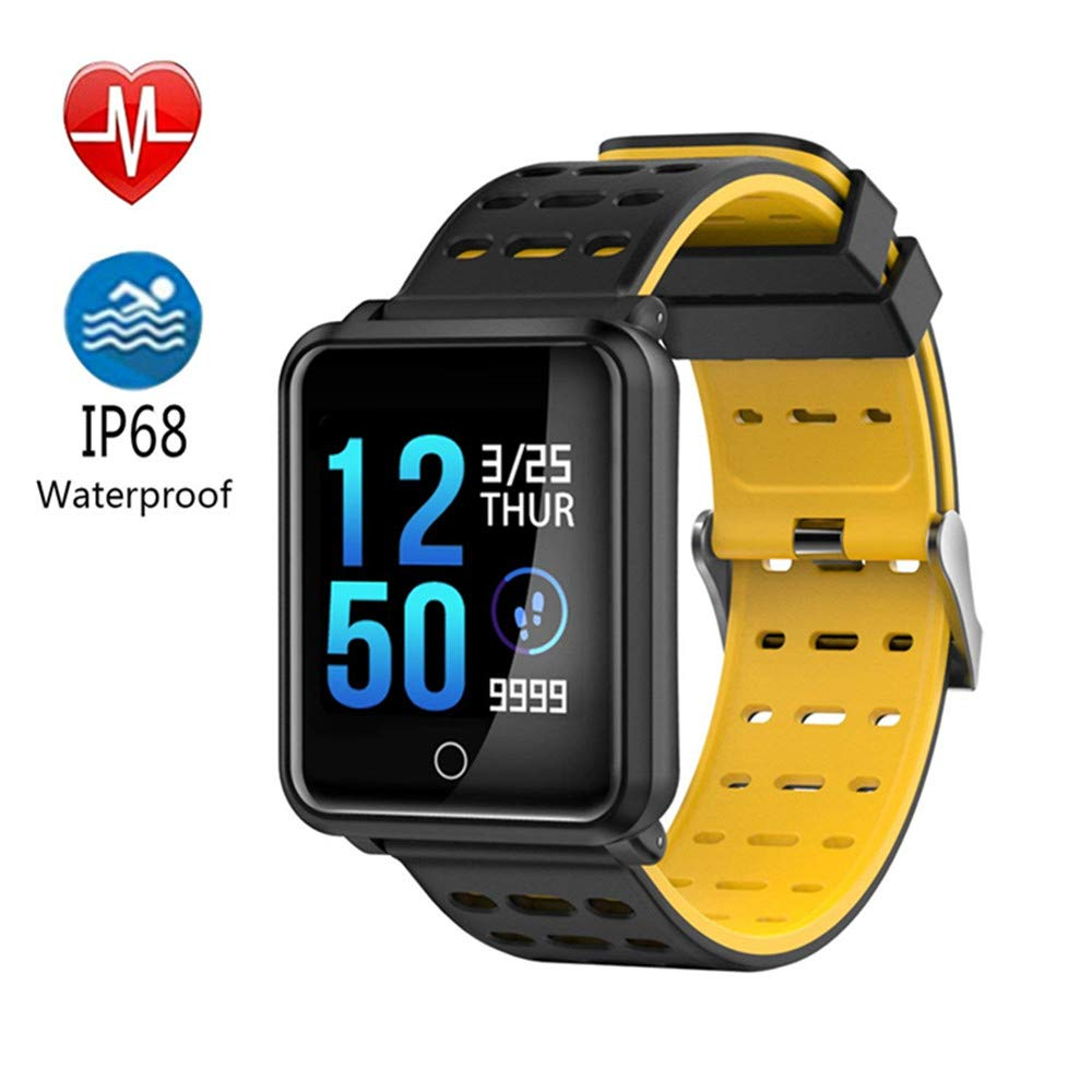 TechCode Smart Sports Watch, Colour Screen Activity Fitness Tracker IP68 Waterproof with Blood Pressure Heart Rate Monitor Step Calorie Distance Tracker Smart Band Watch for Men Women Kids (Yellow)