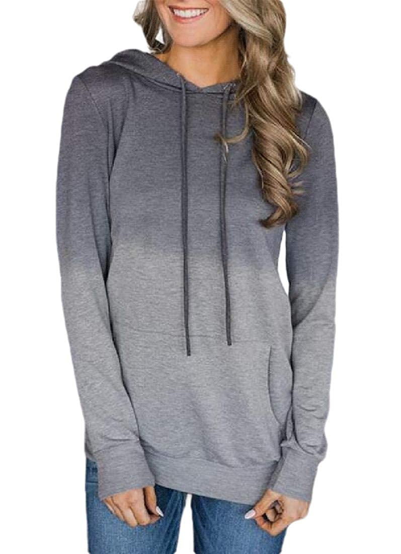 Lutratocro Womens Casual Pullover Hooded Ombre Color Tops Sweatshirts