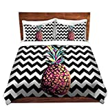 DiaNoche Designs Organic Saturation Party Pineapple Chevron Brushed Twill Home Decor Bedding Cover, 8 King Duvet Sham Set