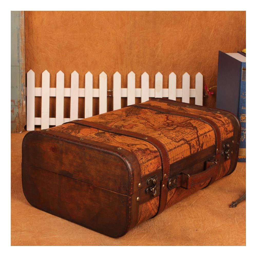 YOSPOSS rétro Valise de Rangement Kz1882-w953Style Ancien Carte du Monde Valise Atlas Coque Coffre de Rangement en Bois de Mariage Post Box