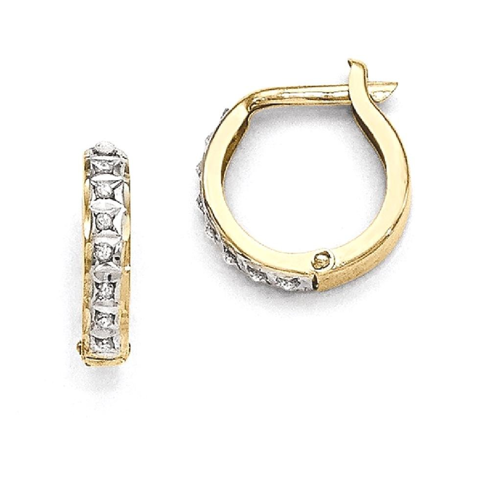 ICE CARATS 14k Yellow Gold Diamond Fascination Round Hinged Hoop Earrings Ear Hoops Set Fine Jewelry Gift Set For Women Heart