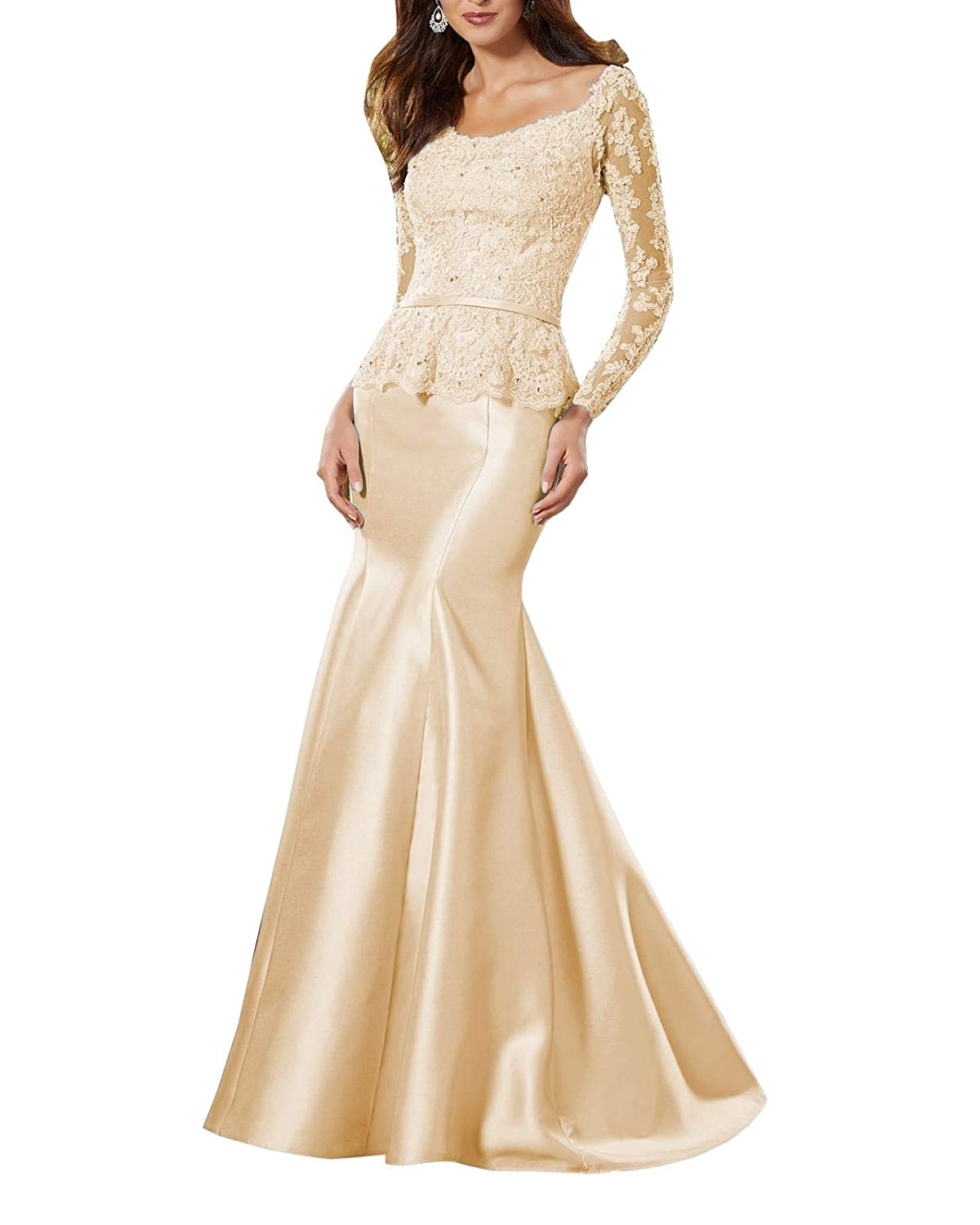 Champagne Wanshaqin Women's Heavy Beaded Lace Formal Evening Gown Stunning Silk Party Dress with Empire Waist