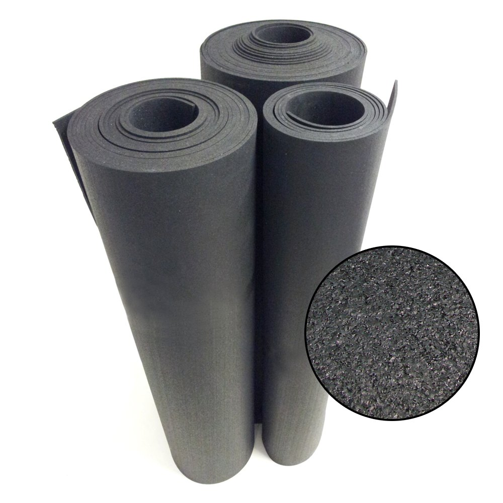 Rubber-Cal Rolled Rubber Floors - 9.5mm x 4ft Wide x 6ft Long Rolls - Black Rubber Mat