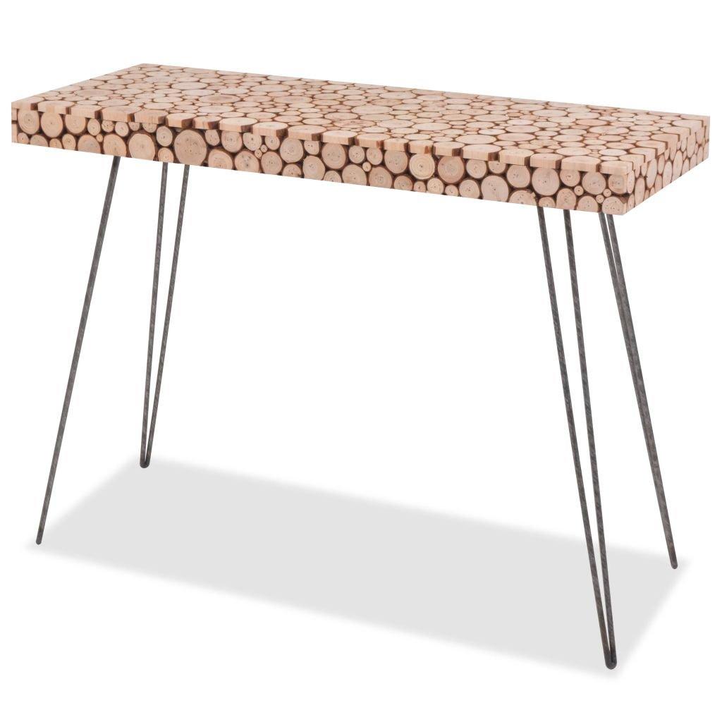 SHENGFENG Beistelltisch mit 4Stahlbeinen, Lounge Tisch, Sofa-Tisch, echt Holz 100,5x 36,8x 75cm